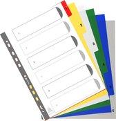 20x Tabbladen met bedrukte tabs in gekleurde PP - 6 tabs - 1 tot 6 - A4, Geassorteerde felle kleuren
