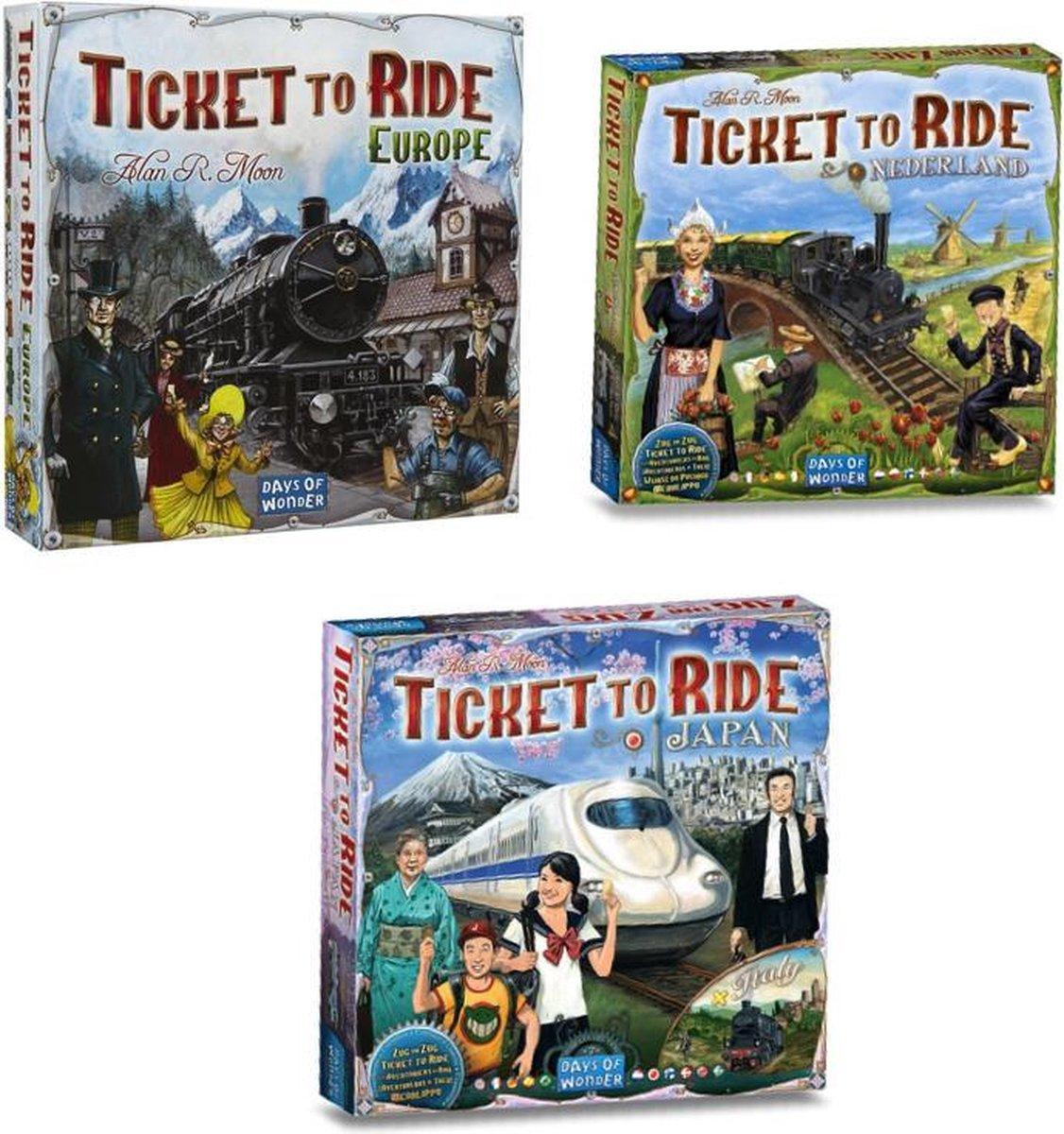 Mega Ticket to Ride Spelvoordeelset inclusief basisspel Ticket To Ride Europe - Bordspel & Ticket to Ride Nederland - Uitbreiding & Ticket to Ride Japan/Italië - Uitbreiding