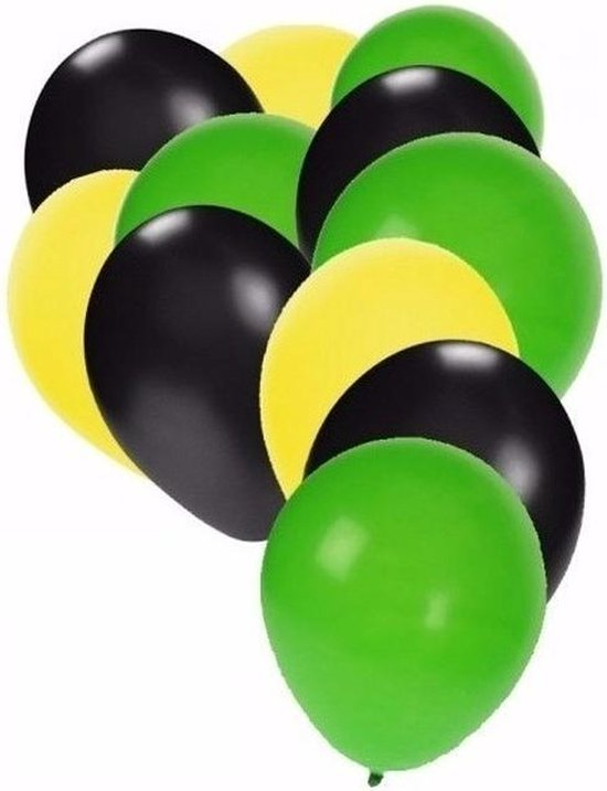 30x Ballonnen in Jamaicaanse kleuren