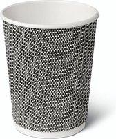 Natural Tableware duurzame wegwerp bekers - 240ml - 25 Stuks - zwart/wit