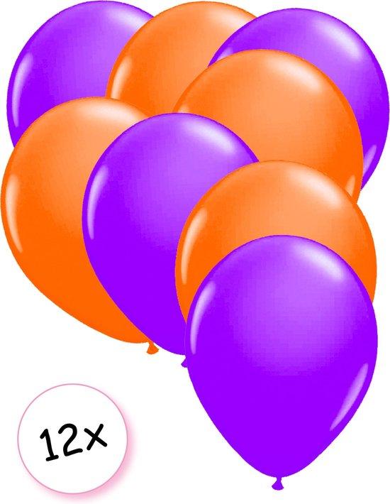 Ballonnen Neon Paars & Neon Oranje 12 stuks 25 cm