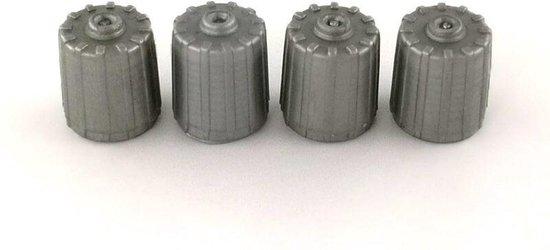 4 TPMS kunststof ventieldopjes voor de auto grijs ventieldop ventieldoppen ventiel dop doppen dopje