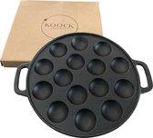 Koock Amsterdam® Poffertjespan van gietijzer - inductie - gas - alle warmtebronnen - vlakke onderkant