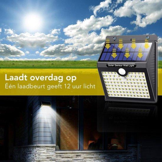 LifeGoods Solar Buitenlamp met Bewegingssensor - 97 LEDs - Wit Licht -Tuinverlichting op Zonneenergie - IP65 Waterdicht - Voor Tuin/Wand/Oprit - 2 Stuks