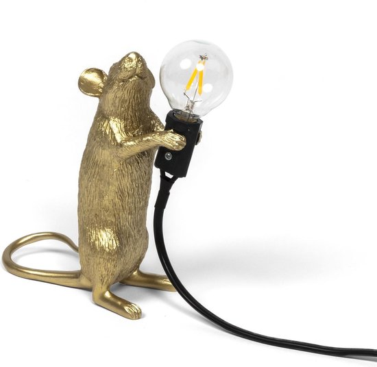 Seletti - Mouse lamp step-gold standing black wire