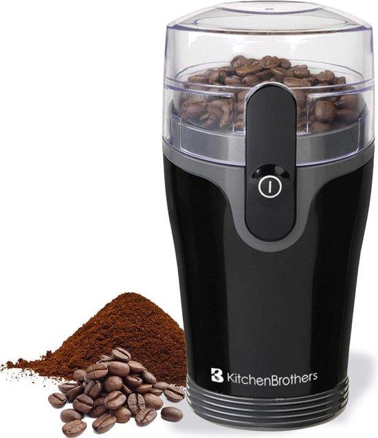 KitchenBrothers Elektrische Koffiemolen - Bonenmaler voor Verse Koffiebonen - 120W - Voor Espressomachine / French Press / Percolator etc. - Zwart