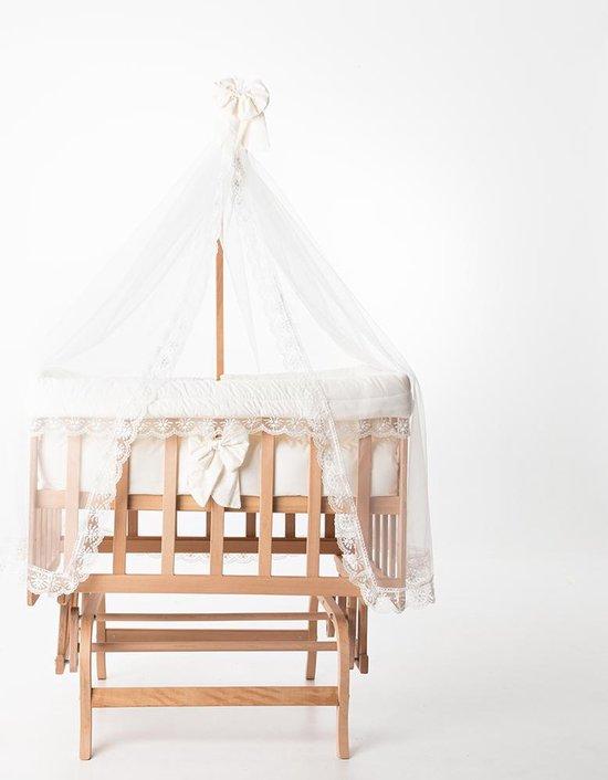 BabyRace Cosleeper - Houten Schommelwiegje -  Inclusief Wiegbekleding en Hemeltje