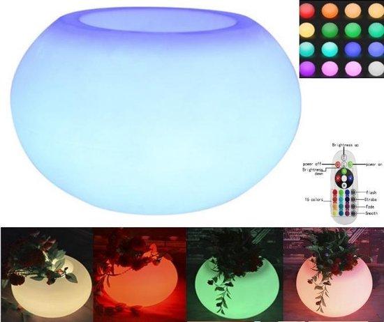 Bloembak plantenbak rond led verlichting - 16 kleuren RGB - spatwaterdicht oplaadbaar - 65 x 65 x 50 cm groot