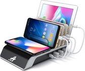 AXTIES® 5-in-1 Oplaadstation met Draadloze Qi Oplader - Geschikt voor Apple iPhone / iPad / Samsung / LG / Huawei - Docking Station - Oplaad Dock voor Mobiele Telefoon en Tablet- Snel Lader - Draadloos Snellader - Wireless Fast Charger