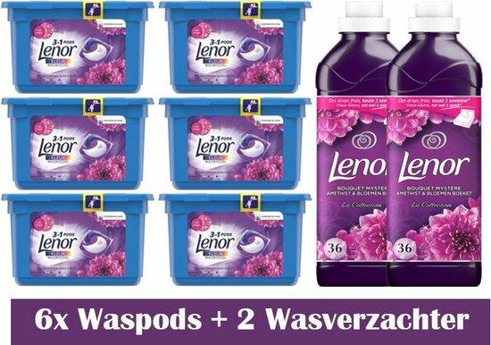 Lenor Amethist & Bloemen Set 6x waspods - 2x wasverzachter