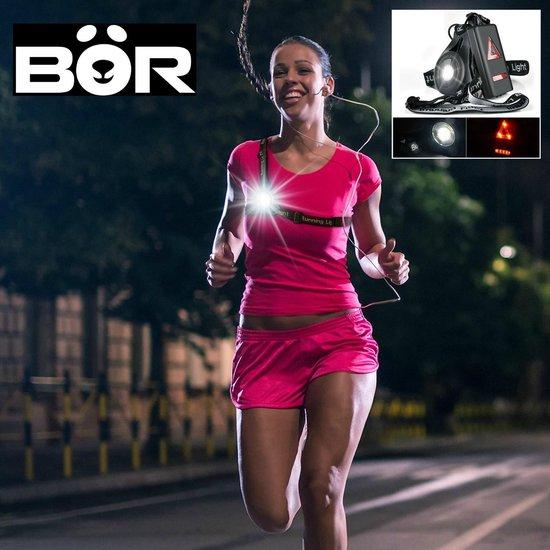 NIEUW - BÖR® LED veiligheid hardlopen fietsen / wit voor & rood achter / oplaadbaar / zeer hoge lichtsterkte / run running lights verlichting / wandelen met hond / veiligheidsverlichting