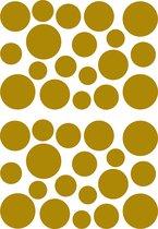 Muurstickers Deco Dots, plakstickers gouden cirkels, foliestickers met goudkleurige bedrukking, wall art, retro uitstraling, verwijderbaar zonder lijmresten, DIY en  interieurdecoratie, voorgestanst, 32 stickers in 4 maten op 1 vel 70 x 50 cm