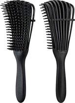 Antiklit Haarborstel   Detangling Brush   Hairbrush   Krullend Haar Verzorging   Stylingborstel   Magic Detangler Brush   - Zwart