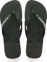Havaianas Brasil Logo Unisex Slippers - Green Olive - Maat 43/44