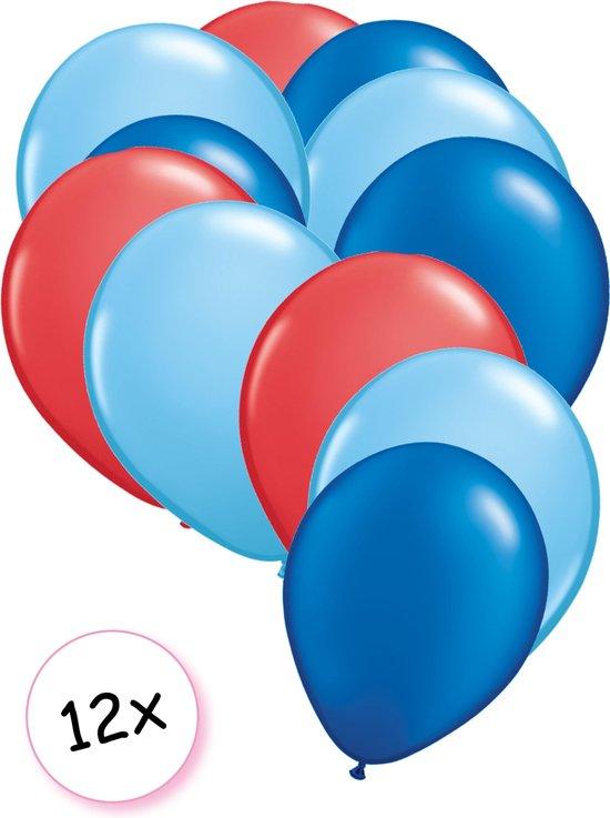 Ballonnen Rood, Licht blauw & Blauw 12 stuks 27 cm