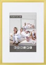 Vlakke Aluminium Wissellijst - Fotolijst - 56x71 cm - Helder Glas - Mat Goud - 10 mm