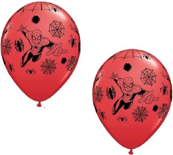 Spiderman party thema ballonnen 12x stuks - Feestartikelen/versieringen