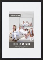 Vlakke Aluminium Wissellijst - Fotolijst - 60x70 cm - Helder Glas - Mat Zwart - 10 mm