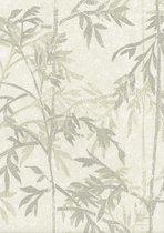 Topchic | bamboe bladeren | grijs, groen, zand | vliesbehang 0,53x10m