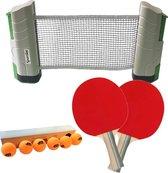 Tafeltennis Pingpong set 2* Bats - Oprolbaar net - 6 ballen
