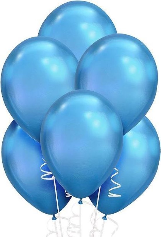 Party Colors Chrome Ballonnen Blauw 10 stuks