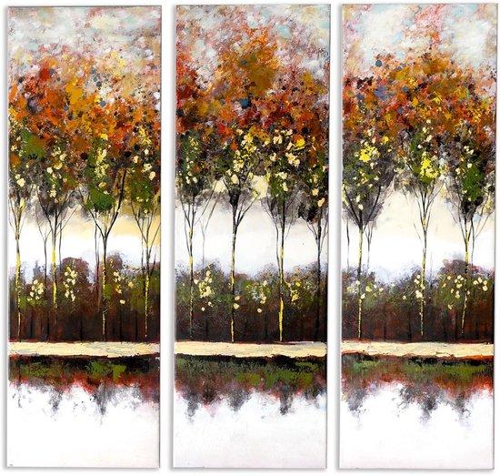 Bol Com Canvas Schilderijen Muurdecoratie Woonkamer Handgeschilderd 3 Luik Autumn Trees
