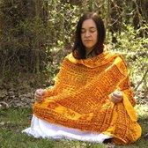 Meditatie omslagdoek met mantra Maha, natuurvezel, XL, 220 x 106 cm, oranje, vegan