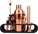 Cocktail Shaker Set - 12-delig - 750ml - Houder - Koper - Receptenboekje
