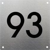 RVS Huisnummer 20x20cm nummer 93