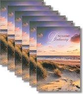 6x dubbele wenskaart met envelop - Deelneming - 11,5 x 17 cm