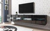 TV Meubel Zwevend Zwart 200 cm - Inclusief Led Verlichting - Modern Design