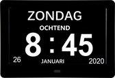 J.E Dementieklok - Kalenderklok voor Dementie - Alzheimerklok - Klok met Datum en Dag - Zwart - Incl. Afstandbediening