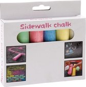 Gekleurd stoepkrijt doosje van 6 stuks - buiten kinder speelgoed