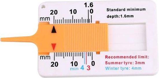 Professionele bandenprofielmeter - Dieptemeter - Diktemeter - Bandprofiel meter - Wit - Bandenprofiel meter - Universeel