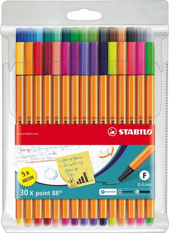 STABILO point 88 - Fineliner 0,4 mm - 30 Stuks Etui - Met 25 Standaard + 5 Neon Kleuren