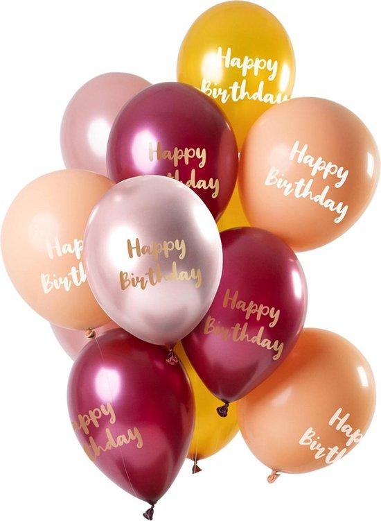 Set van 12 balonnen Happy Birthday metallic roze goud