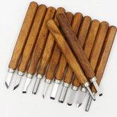 12-delige Gutsen set - Houtsnijwerk gereedschap van hout en RVS
