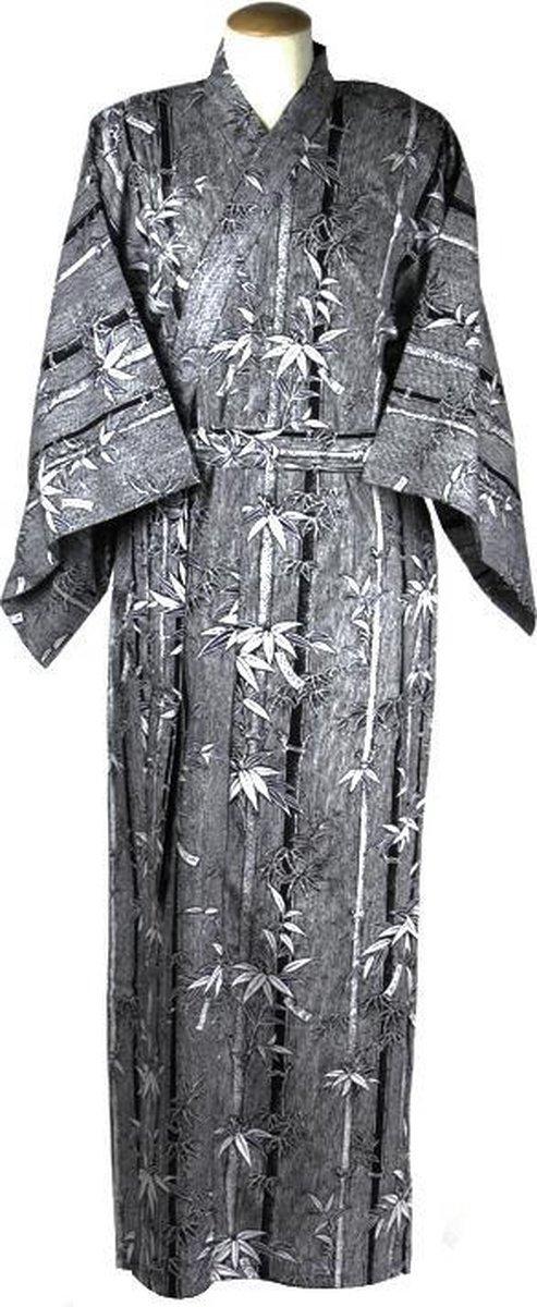 ORIGINELE JAPANSE YUKATA MET BAMBOE DESSIN (BLAUW) (KATOEN) (MAAT ZIE PRODUCTBESCHRIJVING !)