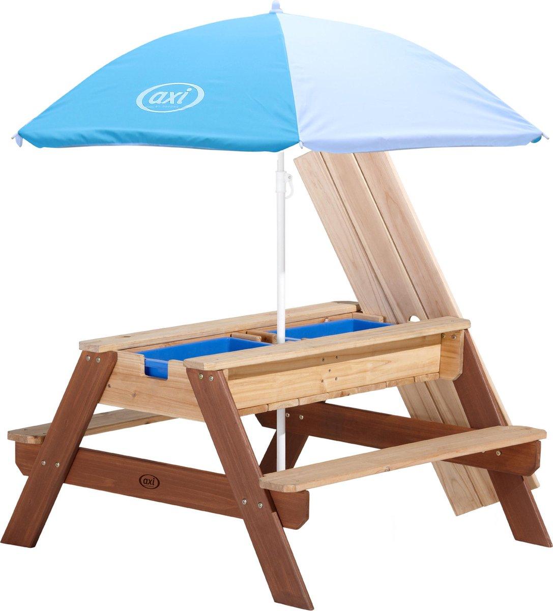 AXI Nick Zand & Water Picknicktafel Bruin - Verstelbare Parasol   FSC Hout