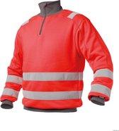 Dassy Denver Hoge zichtbaarheidssweater Rood/Grijs maat M