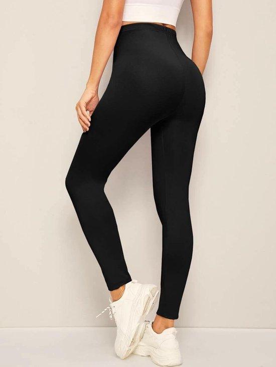 Bol Com Casual Legging In Zwart Met Hoge Taille Shein Zwart S Dames Yoga Fitness