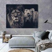Leeuw schilderij zwart wit op aluminium 100x70cm