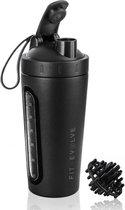 Fit Evolve RVS Shakebeker - Proteine Shaker - BPA vrij - 700ml - Mat Zwart