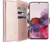 Samsung S20 Hoesje - Samsung Galaxy S20 Hoesje Book Case Leer Wallet - Roségoud