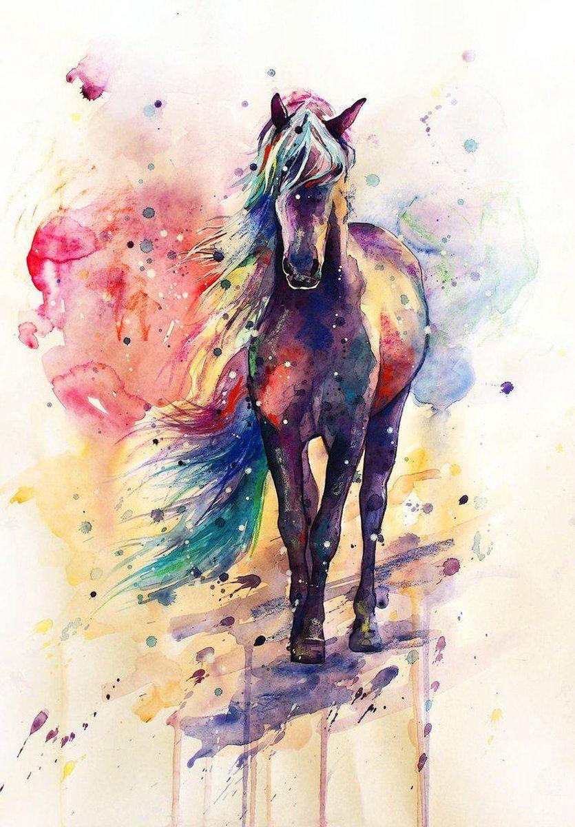 Happy Painter® Diamond Painting volwassenen - Paard met kleuren - 30x40cm vierkante steentjes