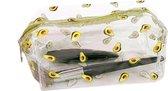 Doorzichtige Etui Avocado met rits (25 x 10 cm) voor jongens en meisjes | Grote transparante pennenzak voor kinderen en volwassenen