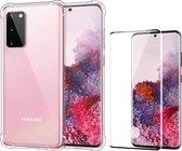 Samsung S20 Hoesje en Samsung S20 Screenprotector - Samsung Galaxy S20 Hoesje Transparant Shock Proof Siliconen Case + Screen Protector Full