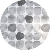 MixMamas Rond Tafelkleed Gecoat - Ø 180 cm - Keien - Zwart