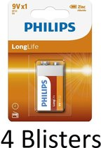 4 Stuks (4 Blisters a 1 st) Philips Longlife 9V Batterijen