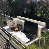De Slimme Balkontafel XL opklapbaar - 99 cm - White Wash (balkonreling <9 cm)